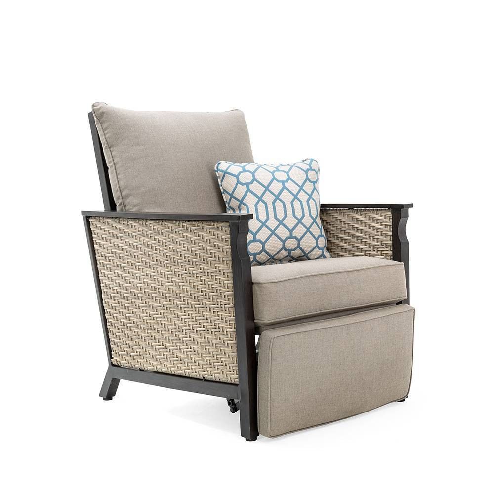 Image of Colton Wicker Outdoor Recliner with Sunbrella Cast Shale Cushion - Tan - La-Z-Boy