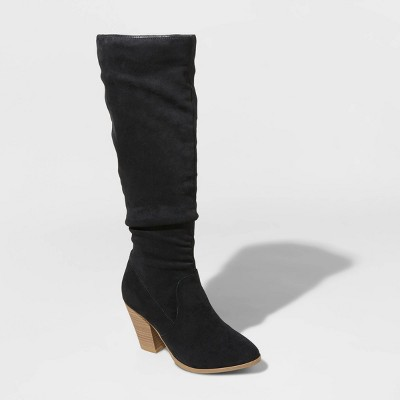 womens-lanae-microsuede-heeled-scrunch-riding-boots---universal-thread by universal-thread