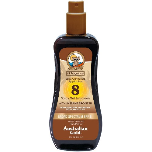 Australian Gold Sunscreen Spray Gel with Instant Bronzer - SPF8 - 8oz