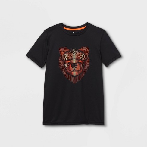 Boys' Short Sleeve Bear Graphic T-Shirt - All in Motion™ Black - image 1 of 2