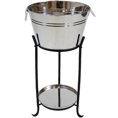 Stainless Steel Ice Bucket Beverage Holder - 5 Gallon- Sunnydaze Decor