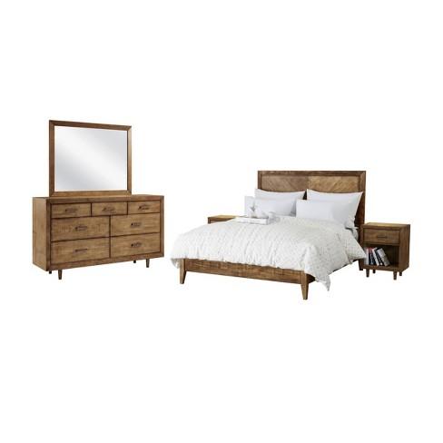 5pc Aurora Mid Century Bedroom Set Queen Brown - Abbyson Living