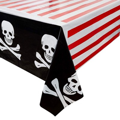 """Juvale 6 Pack Pirate Skulls Disposable Plastic Tablecloths Table Cover Kids Party Supplies 54""""x108"""""""