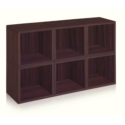 Way Basics 6-Cube Eco Stackable Storage Cubby Organizer Espresso Wood Grain