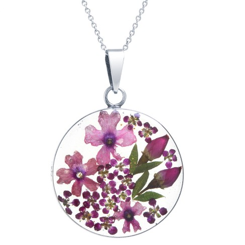 """Women's Sterling Silver Pressed Flowers Small Round Pendant (18"""") - image 1 of 1"""