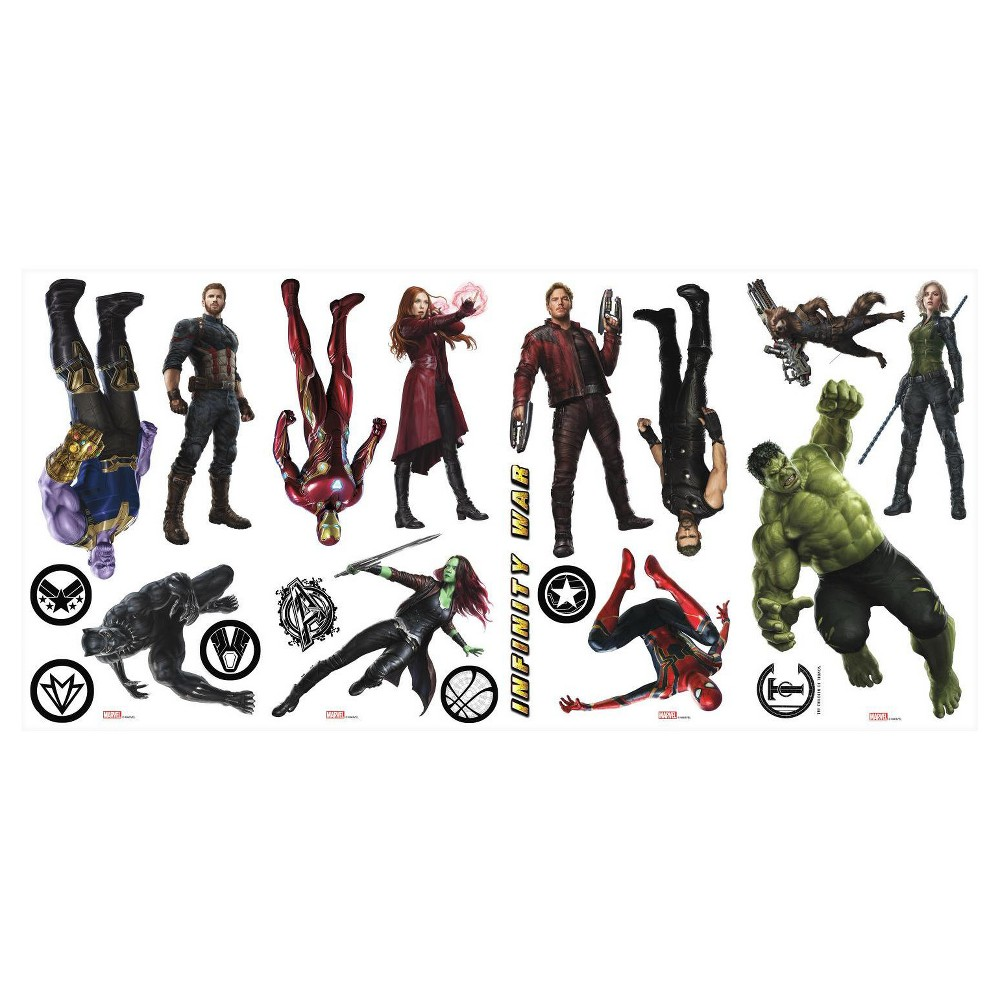 RoomMates Marvel Avenger Infinity War Characters Peel and Stick Wall Decal 4 Sheets, Multi-Colored