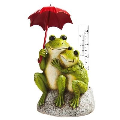 Evergreen New Creative Frog Lovers Garden Statue with Rain Gauge