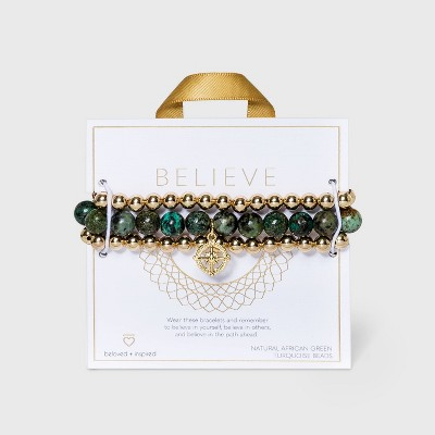 Beloved + Inspired Gold Granite with Compass Charm Trio Stretch Beaded Bracelet Set - Blue