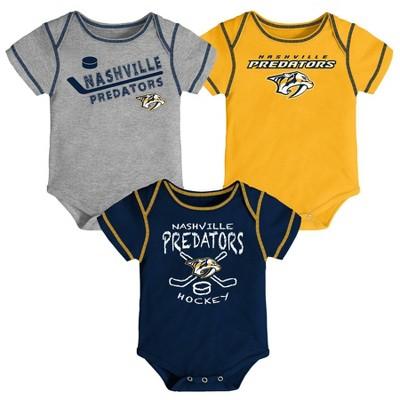 NHL Nashville Predators Baby Boys' Game Winner Bodysuit Set 3pk - 0-3M