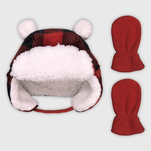 Baby Boys' Plaid Trapper & Mittens Set - Cat & Jack™ Red - image 1 of 1