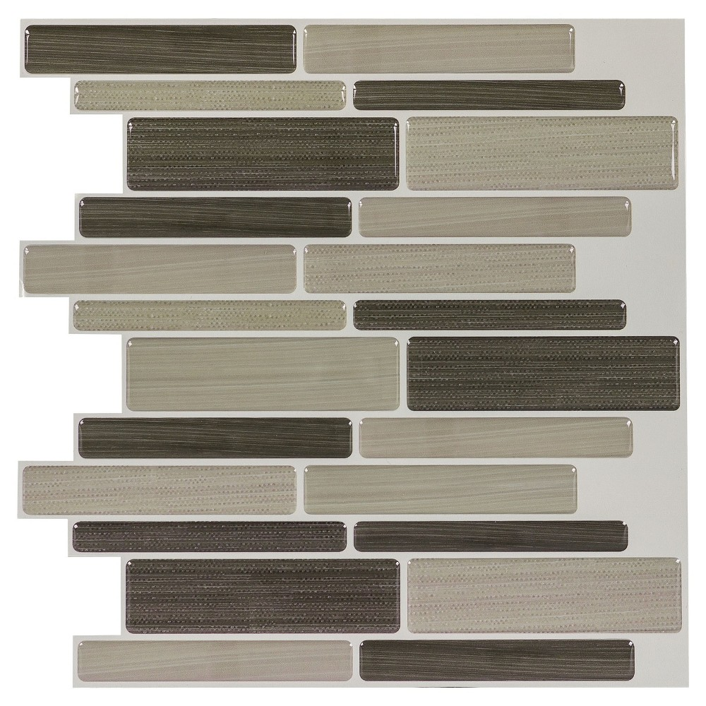 Decor 5 Pack Peel & Stick Mosaic Tile - Mocha Linear