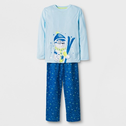 Boys' 2pc Long Sleeve Ski Bear Graphic Pajama Set - Cat & Jack™ Blue - image 1 of 1