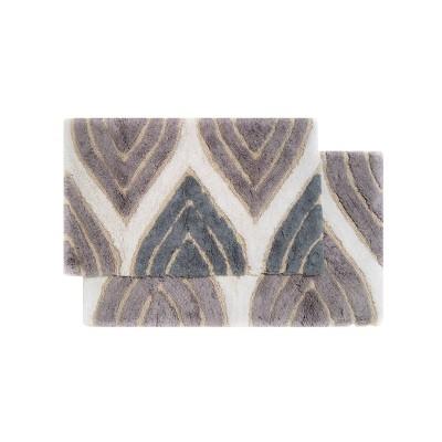 Davenport 2 - Pc. Bath Rug Set Gray & White - Chesapeake Merch Inc.®