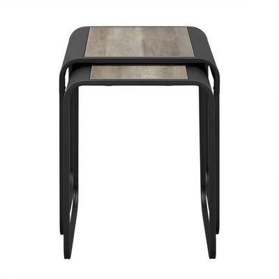 Modern Metal Nesting Tables with Glass and Metal - Saracina Home