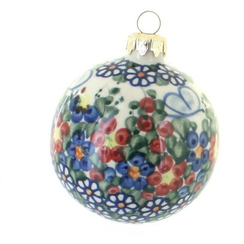 Blue Rose Polish Pottery Garden Butterfly Large Christmas Ball - image 1 of 1