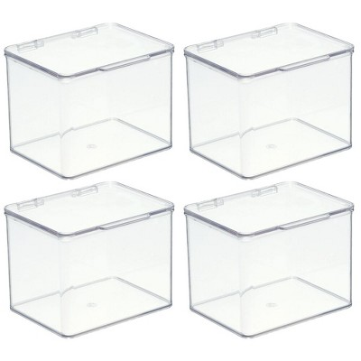 mDesign Stackable Plastic Office Storage Organizer Box with Lid, 4 Pack