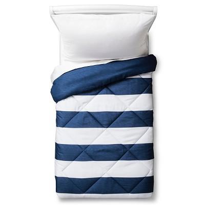 Toddler Rugby Stripe Comforter Blue - Pillowfort™