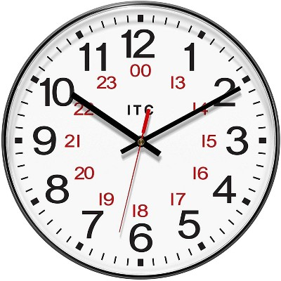 Infinity 90/1224-1 Combination 12/24 Hour Wall Clock 12 Inch Diameter, White