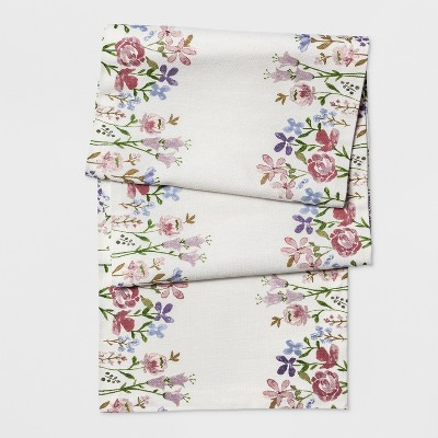 108 x14  Spring Placed Floral Runner White - Threshold™