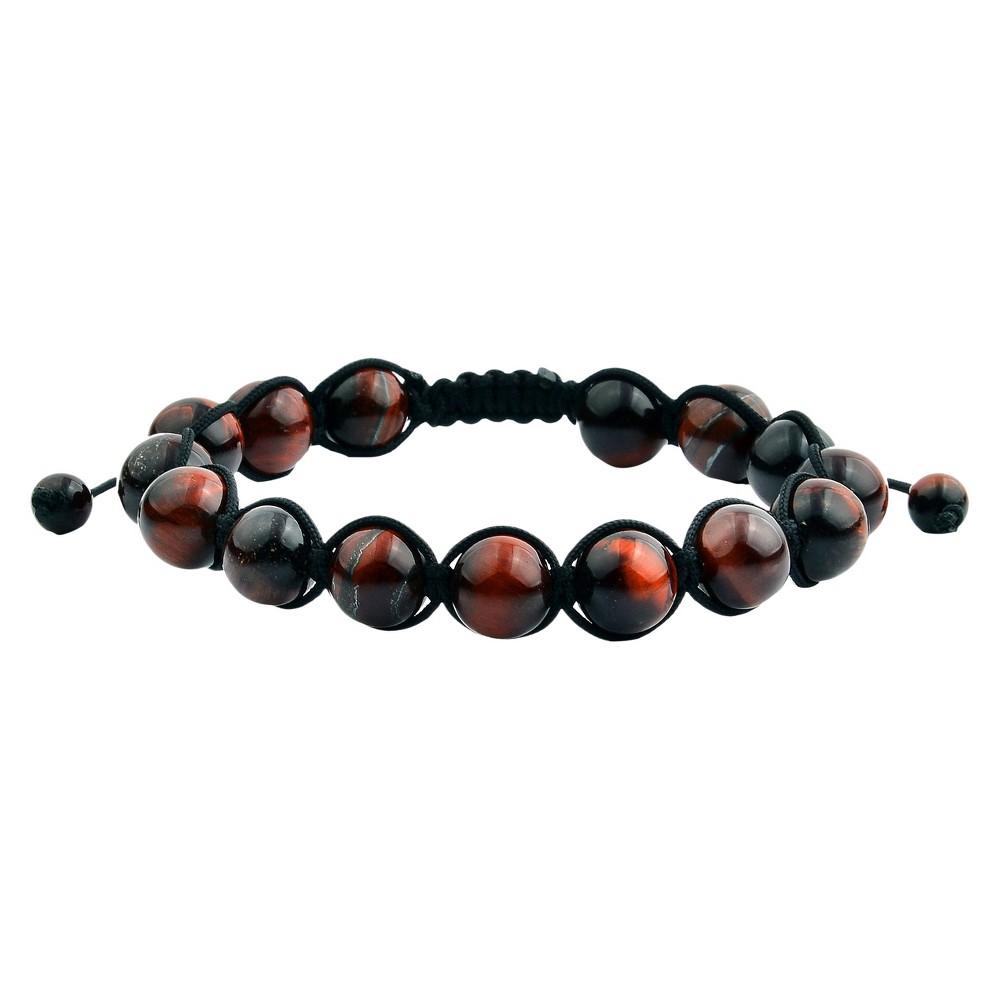 Men's Natural Stone Adjustable Beaded Bracelet - Red Tiger Eye - Size (10mm)