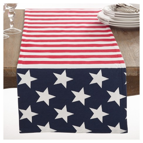 "American Flag Design Table Runner (16""x72"") - Saro Lifestyle - image 1 of 3"