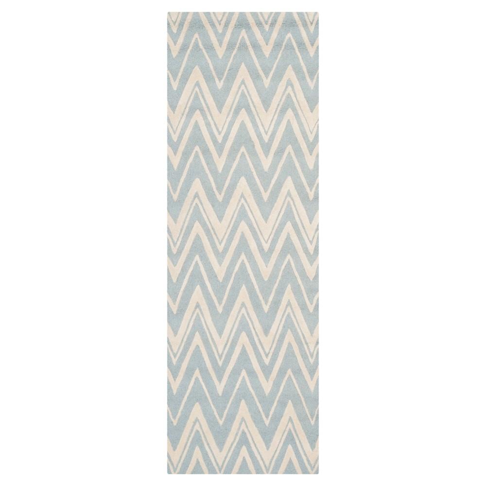 Burton Textured Rug - Blue / Ivory (2'6 X 10') - Safavieh, Blue/Ivory
