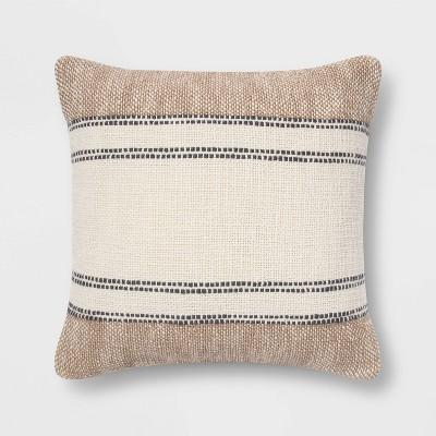 Textured Cotton Striped Square Throw Pillow Neutral/Cream - Threshold™
