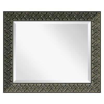 "21"" x 25"" Intaglio Embossed Black Framed Wall Mirror - Amanti Art"