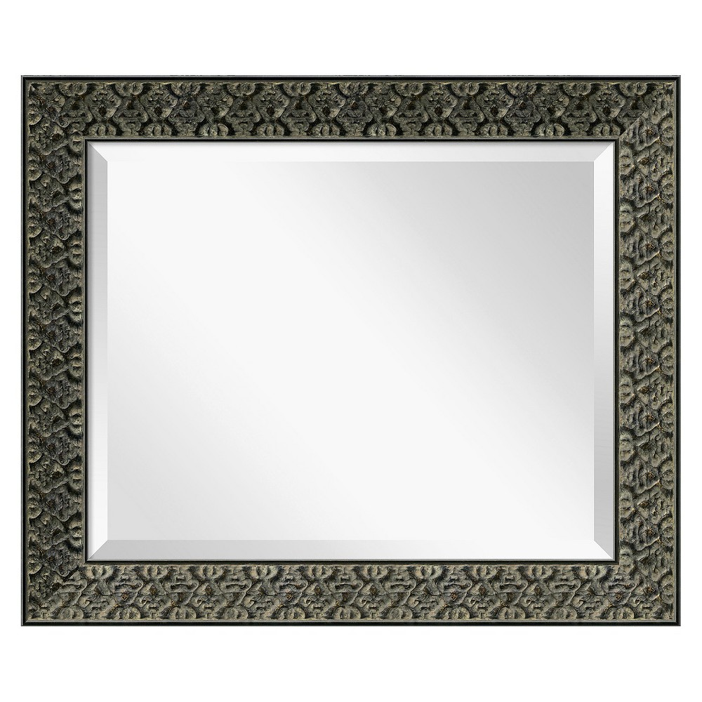 Image of Rectangle Intaglio Antique Decorative Wall Mirror Black - Amanti Art