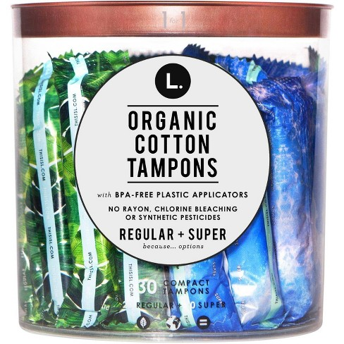 L. Organic Cotton Regular and Super Absorbency Compact Tampons Multipack - 30ct - image 1 of 2