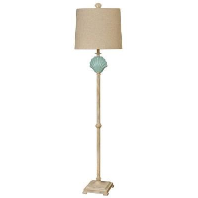 "65"" Seashell Ceramic Floor Lamp Beige/Blue - StyleCraft"
