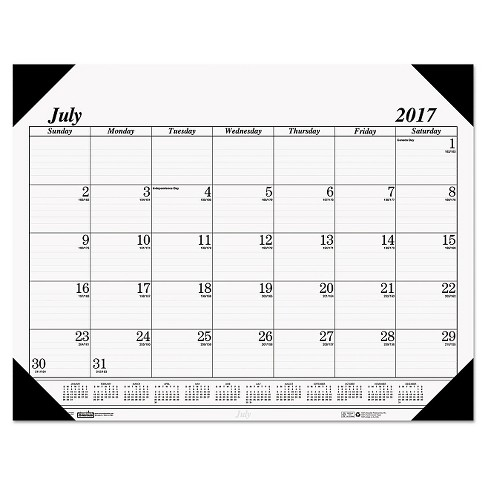 "House of Doolittle™ Recycled Economy 14-Month Academic Desk Pad Calendar, 22"" x 17"", 2016-2017 - Black - image 1 of 1"