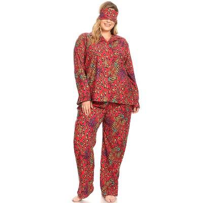 Women's Plus Size Three-Piece Pajama Set - White Mark