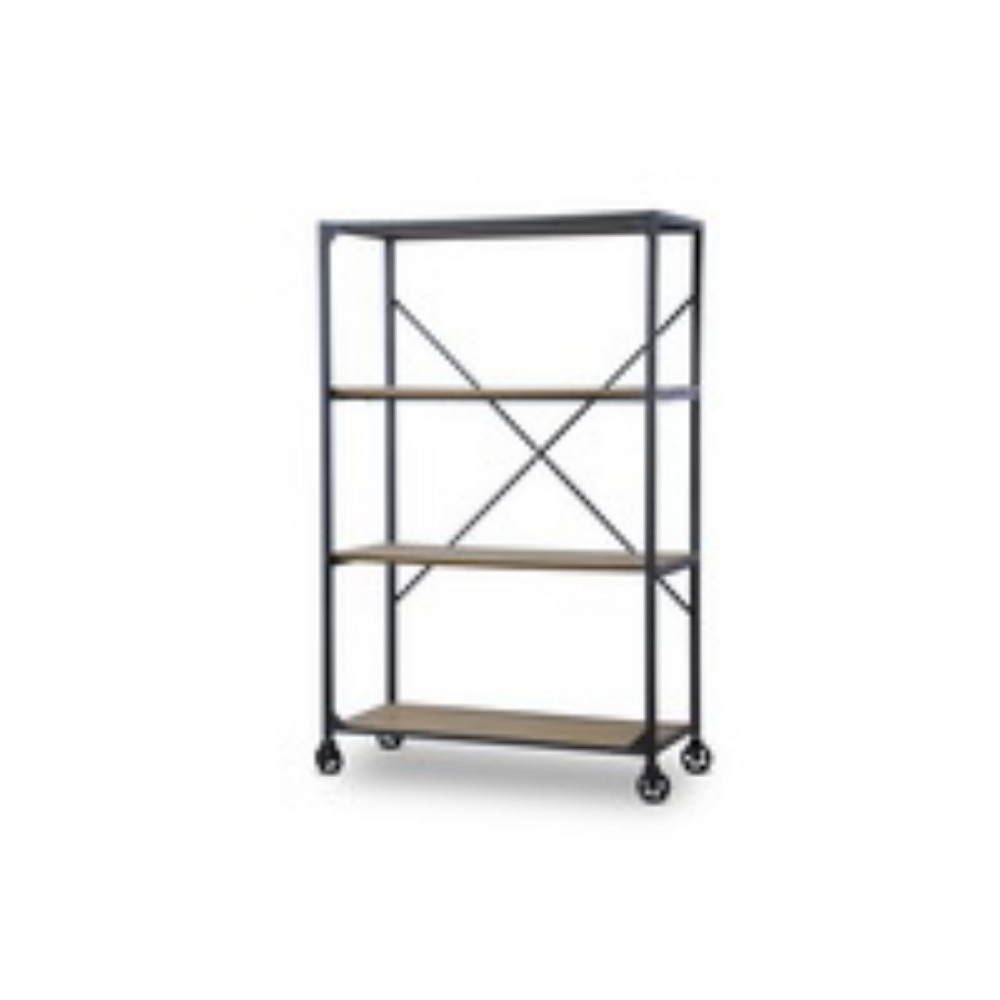63.20 Caribou Wood and Metal Bookcase Natural/Black - Baxton Studio