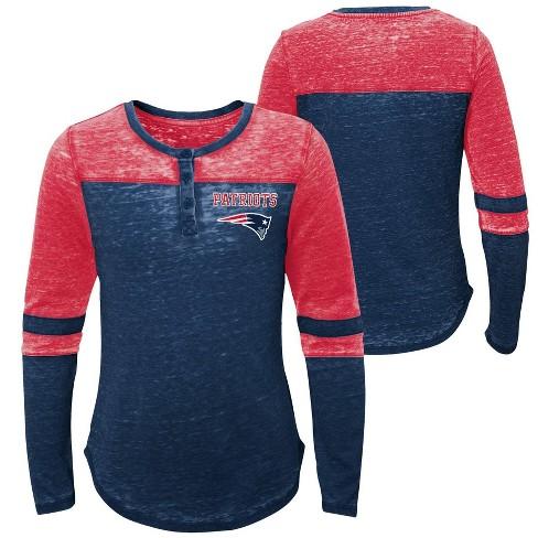 09f7ffc2 NFL New England Patriots Girls' Reverse Pass Burnout Long Sleeve Henley  T-Shirt - L