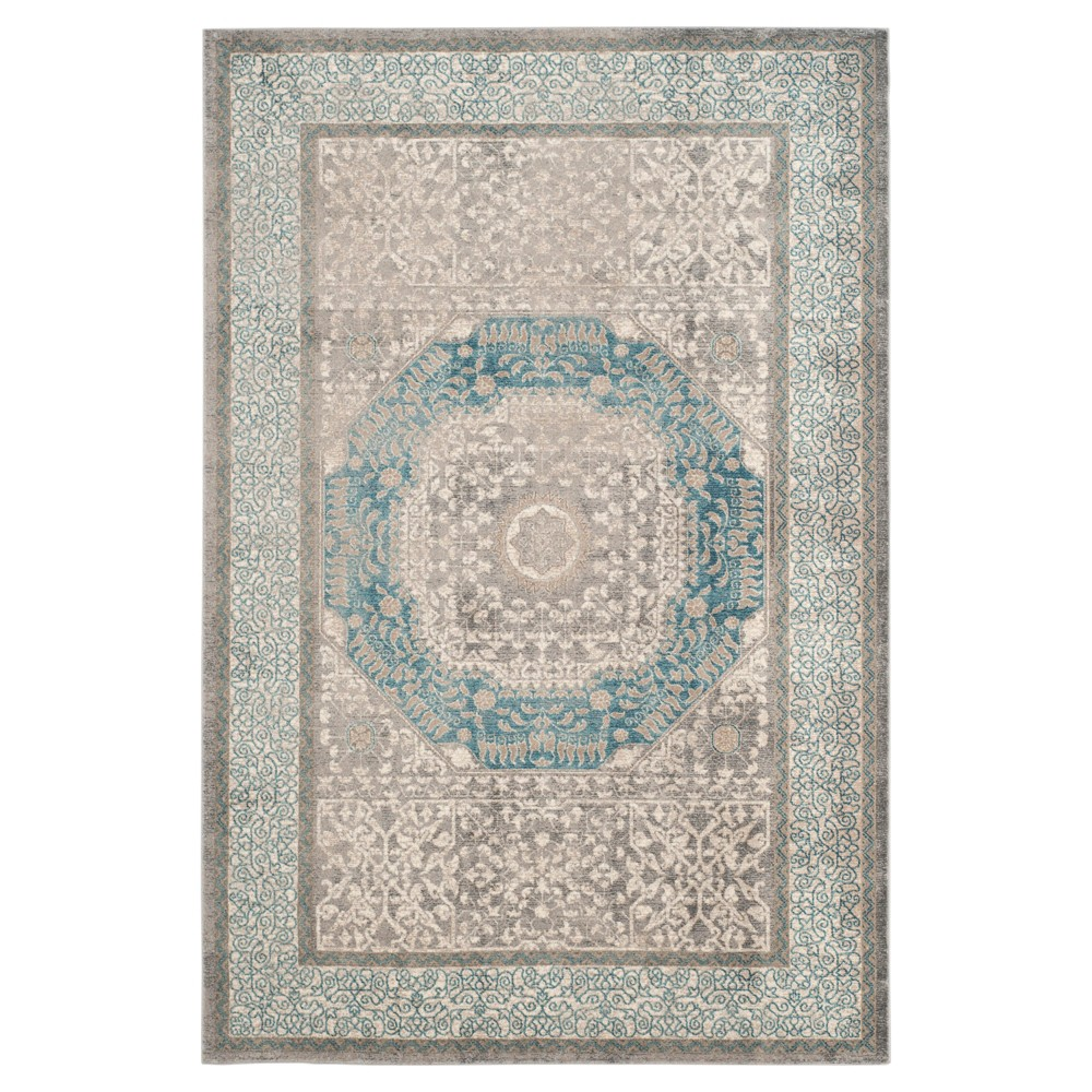 Light Gray/Blue Abstract Loomed Area Rug - (5'1