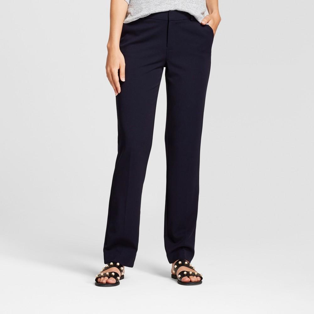 Women's Straight Leg Bi-Stretch Twill Pants - A New Day Federal Blue 0