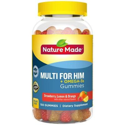 Nature Made Multi for Him Plus Omega-3 Gummies - Lemon, Orange & Strawberry - 150ct