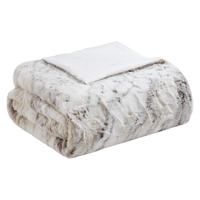 Natural Aina Oversized Faux Fur Throw Blankets 60 x70