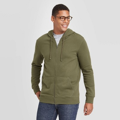 Men's Regular Fit Full Zip Fleece Hoodie - Goodfellow & Co™ Green