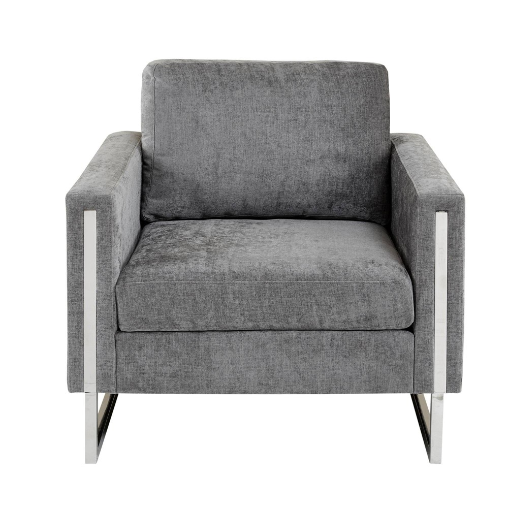 Give your space a lavish update with the Madden Accent Chair. Featuring high track arms and thick removable cushions, this accent chair is upholstered in a soft gray fabric that creates a luxurious seating experience. The chrome plated frame and legs provide exceptional support, while also adding a touch of elegance. Strikingly beautiful, this accent chair is sure to make a statement in any room of your home. Assembly is required. Gender: unisex. Pattern: Solid.