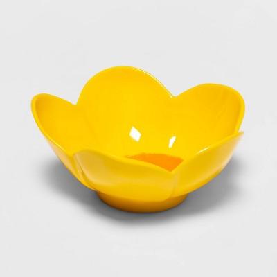 14oz Melamine Flower Dining Bowl Yellow - Spritz™