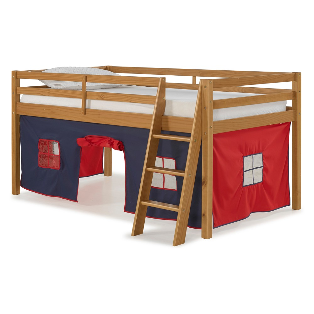 Roxy Junior Loft Twin Bed With Blue And Red Tent Cinnamon - Bolton Furniture
