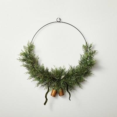 "28"" Asymmetrical Faux Cedar Wire Wreath with Bells - Hearth & Hand™ with Magnolia"