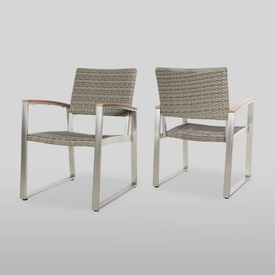 Glasgow 2pk Wicker Dining Chairs - Dark Gray/Silver - Christopher Knight Home