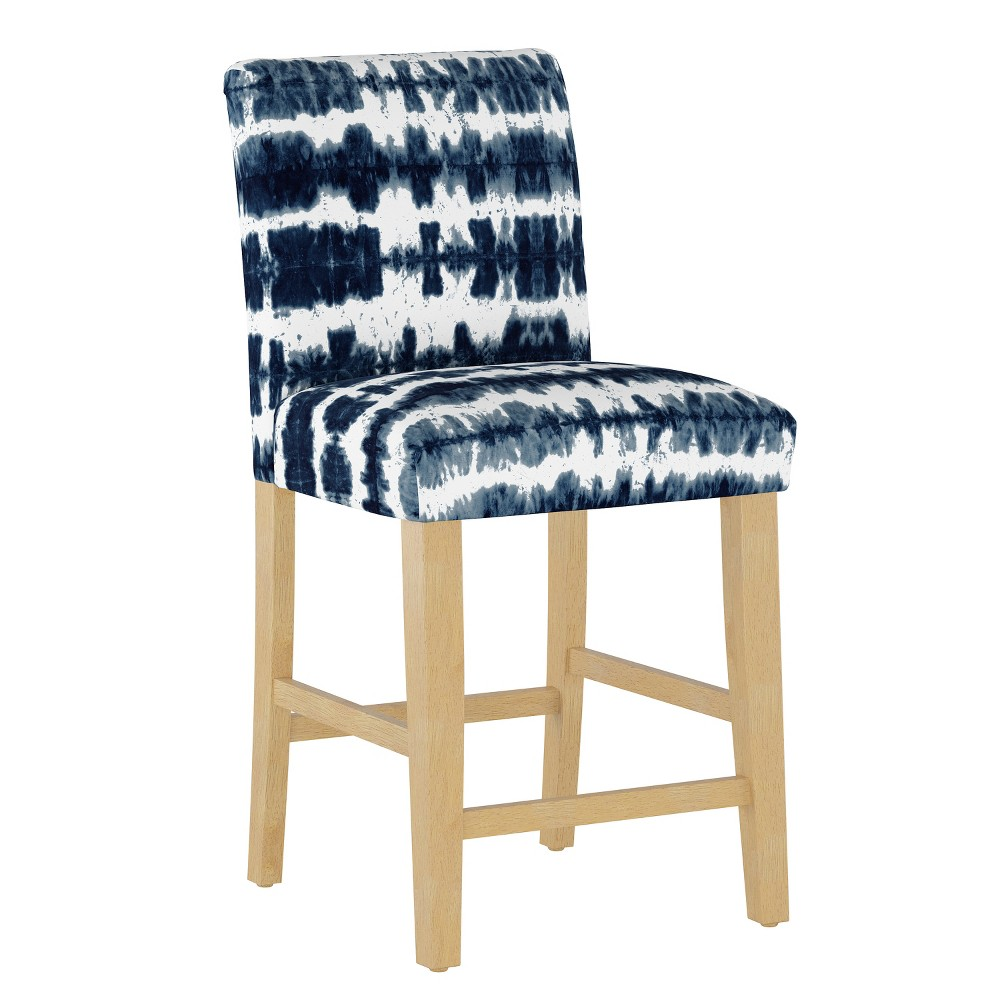 Hendrix Counter Stool with Natural Legs Navy/White Stripe (Blue/White Stripe) - Cloth & Co.