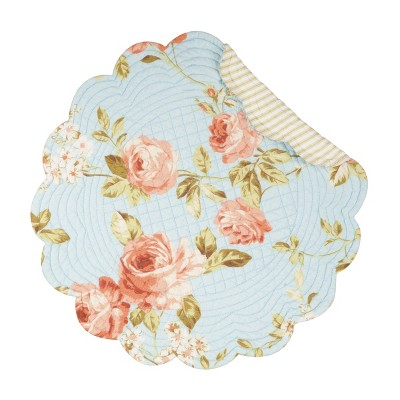 C&F Home Whitney Blue Cotton Quilted Round Reversible Placemat Set of 6