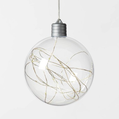 Christmas LED Clear Sphere with 30 Dew Drop String Lights Cool White Twinkle with Silver Wire - Wondershop™