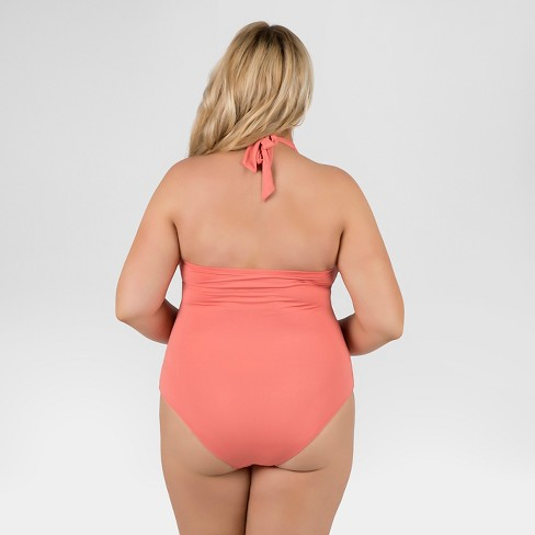 45f5db38c21d7 Women s Plus Size Halter One Piece Swimsuit With Grommet Detail Coral 2X -  Beach By Melissa Odabash   Target