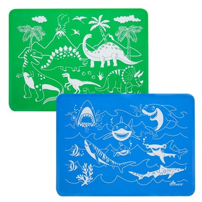 2pk Silicone Dino and Shark Placemat Set - Brinware